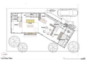 Hokuou House 1階平面図