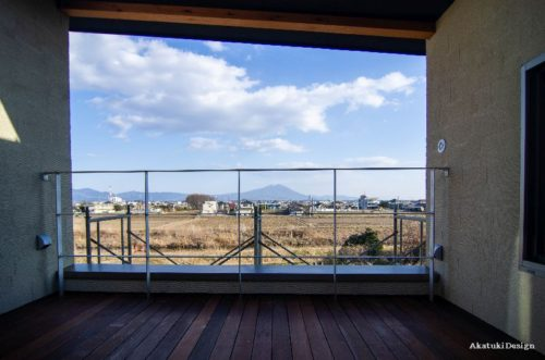 筑波山を眺めるテラス