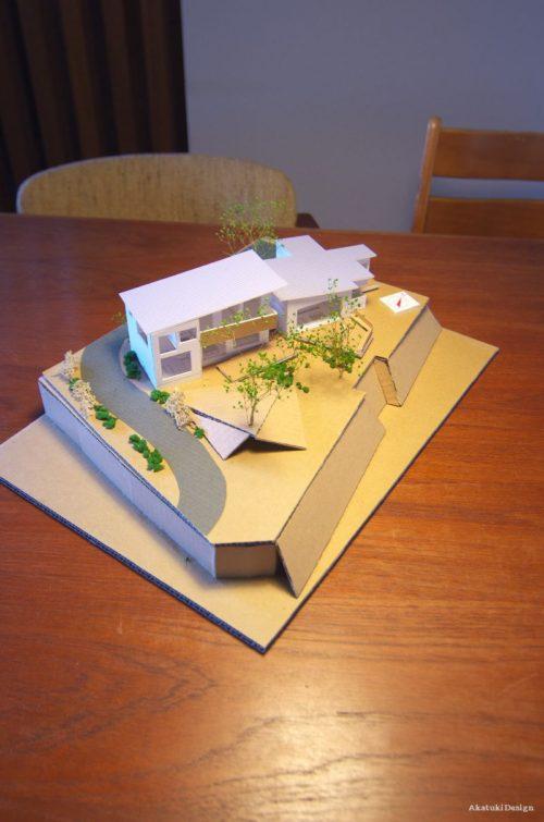 筑波山を眺める家の模型