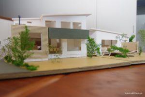筑波山を眺める家模型